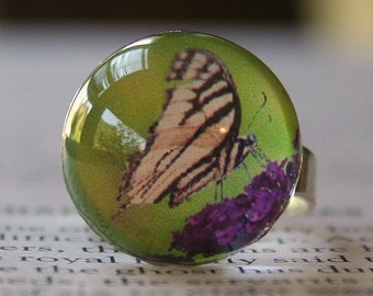 Acrylic Bubble Ring, Ivory & Black Butterfly on Purple Flower, No. 682 by Smash Gardens on Etsy, Bridesmaids Gifts, Butterfly Ring