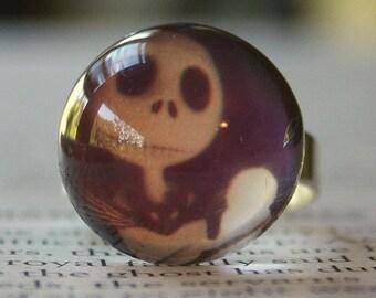 Acrylic Bubble Ring, JACK SKELLINGTON on Black, Nightmare Before Christmas, No. 674 by Smash Gardens on Etsy, Bridesmaids Gift, Stocking