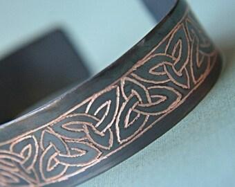 Men's and Women's Personalized Copper Bracelet, Celtic Trinity Knot, Forever, Hand Engraved by Smash Gardens, Custom Engraved on Etsy