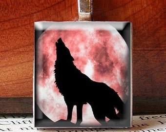Scrabble Tile Pendant, BEAUTIFUL Wolf Howling at a Cherry Moon, No. 1471 by Smash Gardens on Etsy, Bridesmaids Gifts, Stocking Stuffers