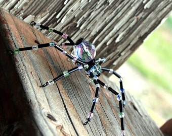 Beaded Spider - Hair Bobby Pin, Lapel Pin, Pendant or  Halloween Decoration, Clear, Multi Color and Black by Smash Gardens on Etsy
