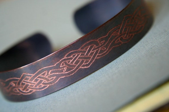 Women's TATTOO Designs Copper Bracelet - Celtic Hearts