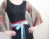 A Lover Sings  - iheartfink Handmade Hand Printed Obi Style Belt
