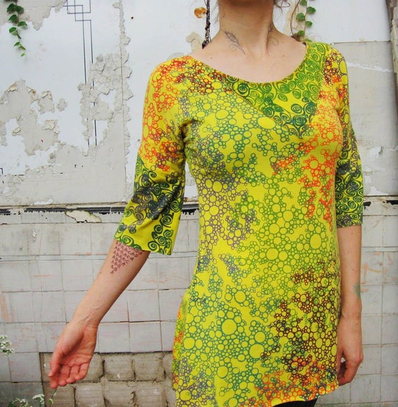 SPRING SALE Sunshine Superman- iheartfink Handmade Hand Printed Asymmetrical Collar Top