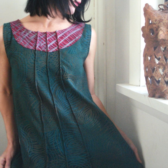 SPRING SALE - Think of Me - iheartfink Handmade Hand Printed Tunic Top Frock