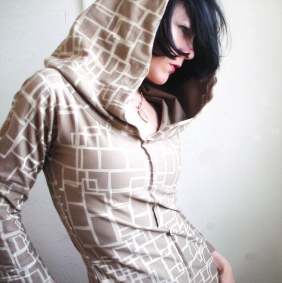 Sugar Cube - iheartfink Handmade Hand Printed Geometric Print Womens Hoodie Hooded Top