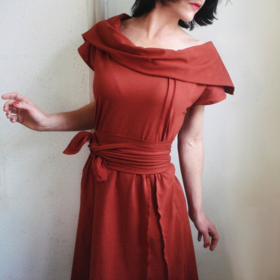 Not So Long Ago - Handmade iheartfink Cowl Dress with Belt