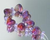 Puffy Dream Hearts Handmade Lampwork Beads