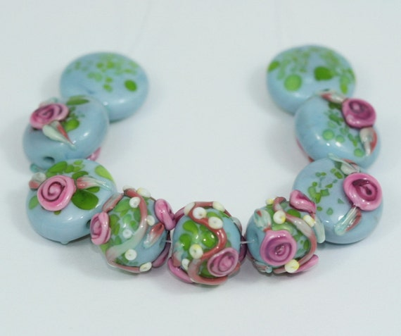 SALE Lampwork Beads Handmade Glass Rosebuds Against Blue Skies