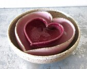 miniature nesting set of pink ombre heart bowls