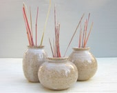 3 tiny vases with rustic glaze
