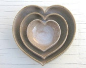 nesting heart bowls in rustic speckled white 3 1/2 inches