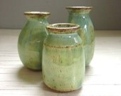 3 tiny ceramic vases perfect for your windowsill pottery green    hostess gift
