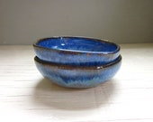 made to order - 2 blue miniature salt cellars bowls tea light holders dipping dishes ring bowls  3  inches wide