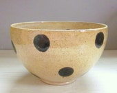 serving bowl mixing bowl small ceramic pottery polka dotted 6 1/2 inches ready to ship