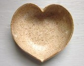 MADE TO ORDER - ceramic heart bowl in speckled oatmeal with gold rim 3 1/2 inches
