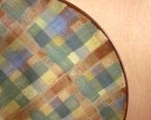 ceramic serving platter large pottery  15 1/2 inches plaid stoneware - ready to ship
