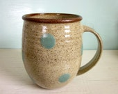 pottery coffee mug turquoise polka dots - MADE TO ORDER