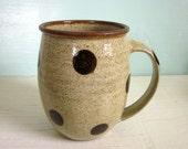 pottery coffee mug with dark polka dots - in stock - ready to ship