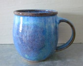 wheel thrown coffee mug  small ceramic pottery  blue 14 oz