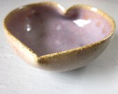 purple ceramic heart bowl  - 2 3/4 inches - perfect Valentine's Day gift