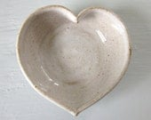 white pottery heart bowl  - 3  inches - valentines day gift 3 1/4