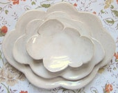 nesting cloud plates - white spoon rest - cottage chic