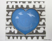 blue pottery heart dish - 3 inches
