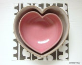 two nesting hearts - pink and white