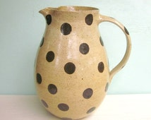polka dotted pitcher - 7 inches tall - made to order - 6 weeks for production