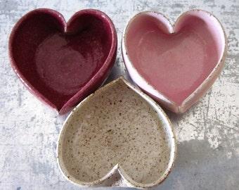 trio of ceramic heart bowls