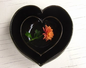nesting black pottery heart dishes - 3 1/2 inches