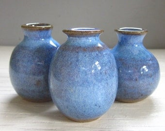 3 blue vases ceramic pottery little rustic perfect for your windowsill