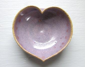 purple ceramic heart bowl  - 3 inches