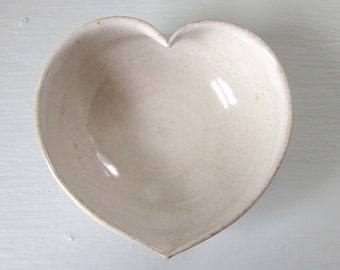 Made to order - heart shaped cereal bowl - rustic white glaze - 5 1/4 inches - 4 week production