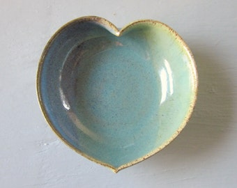 blue/green pottery heart dish  -  4 inches
