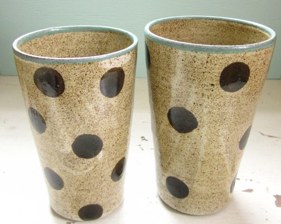 clay tumblers pair of polka dotted cups -16 oz