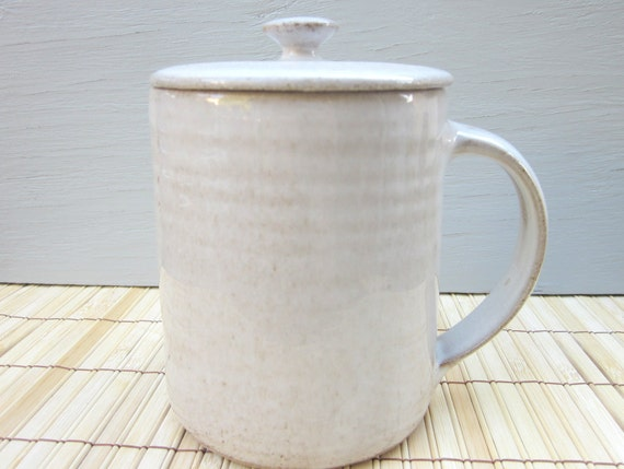 lidded cup covered tea cup mug coffee tea ceramic cup white large 18 oz handmade cover - MADE TO ORDER
