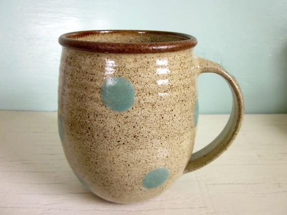 pottery coffee mug turquoise polka dots - MADE TO ORDER