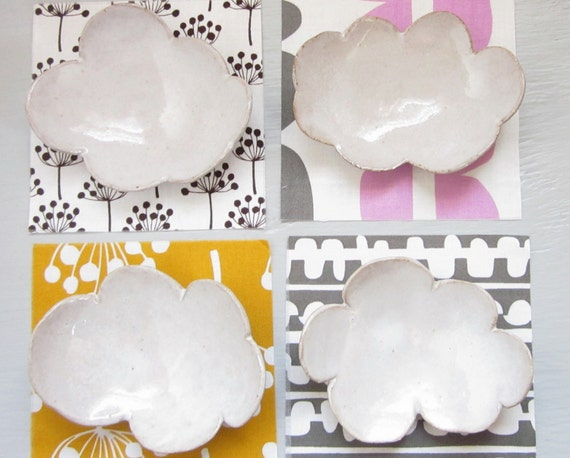 4 small cloud dishes for sushi, tea spoons, or jewelry