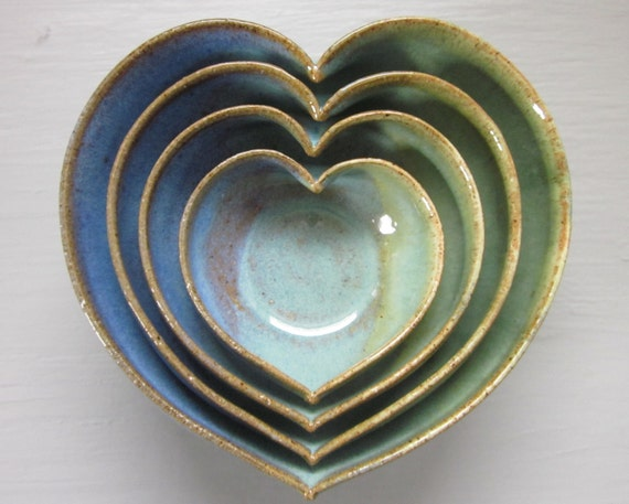 4 nesting ceramic heart bowls 4 1/2 inches blue and green