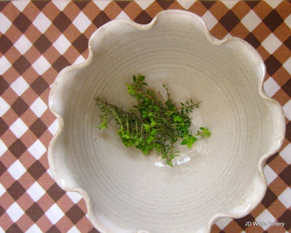 made to order - white ruffled flower bowl