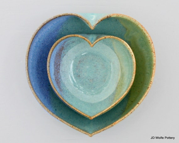 2 nesting heart bowls - 3 1/2 inches wide