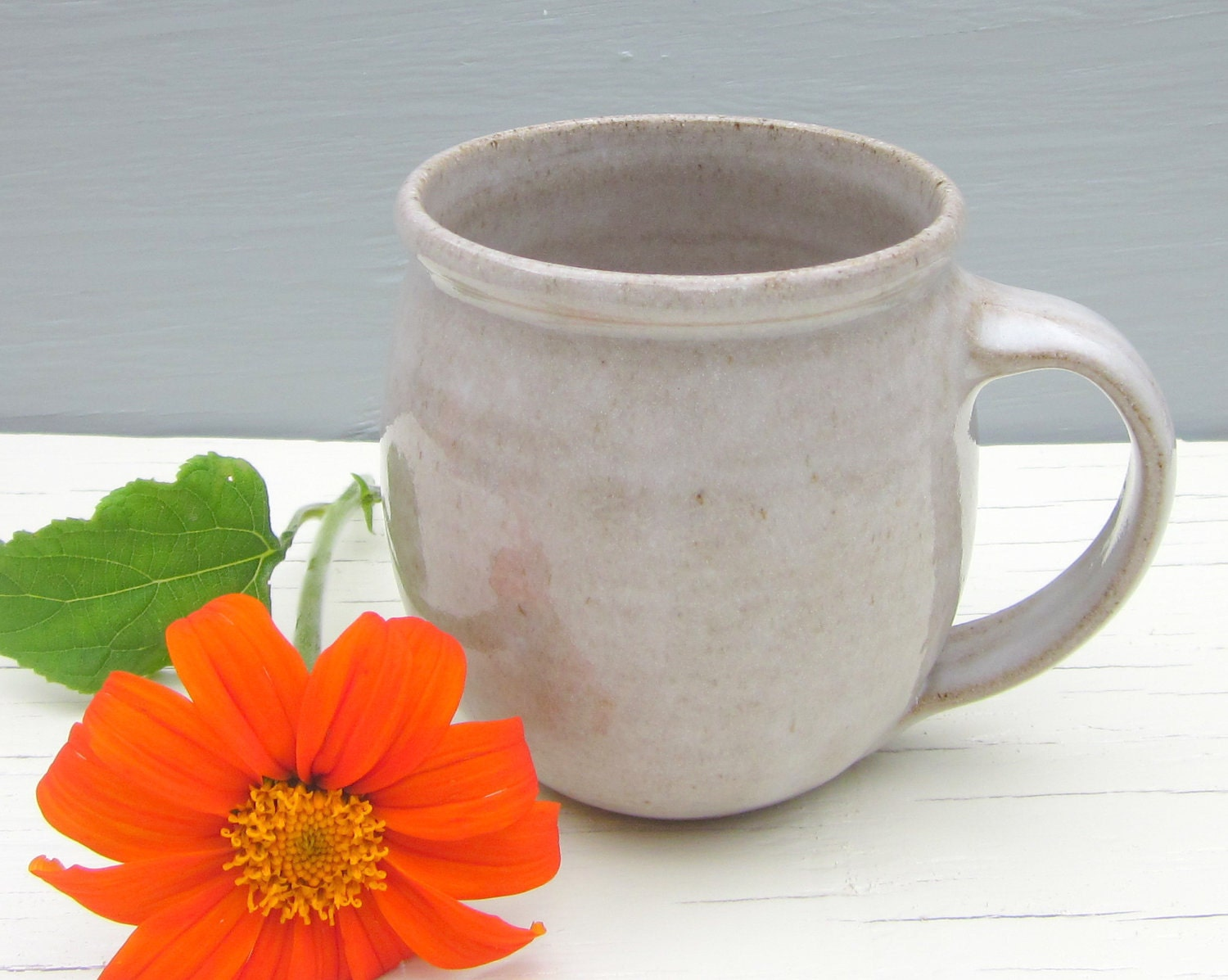made to order 14 oz rustic white coffee mug by jdwolfepottery
