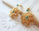 Gold Post Earrings - Blue Floral Earrings - Lace Fashion Little Sweet  Graduation Prom  Gift