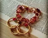 Bohemian Bracelet, Chain Bracelet, Gold Bracelet, Chunky Bracelet, Red Bracelet