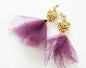 Gold Bridesmaids Earrings Gold Crocheted Lace