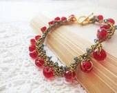 Red Bead Crochet Bracelet - Spring Bracelet Red Teal Crystal Gold Fun Dangle Movement Romantic Office Fashion