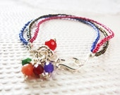 Stacking Bracelet with Jade Agate Silver Hoop Under 25