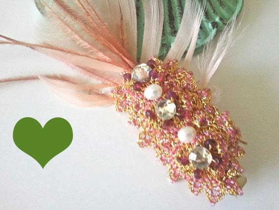 WAS 50.00 Now 35.00 Feather Brooch-Crochet Gold Lace-Hair Pin Barrette -Pink-Vintage Rhinestone-Bridal Pearl-Holiday-La Vie En Rose-